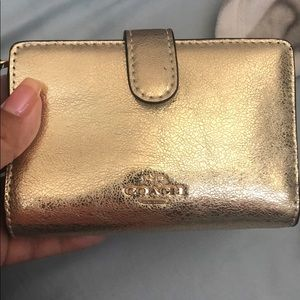 Gold Coach medium corner zip wallet
